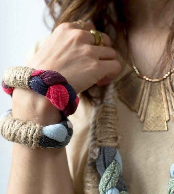 Handgemachter Schmuck stoff ketten und armbänder
