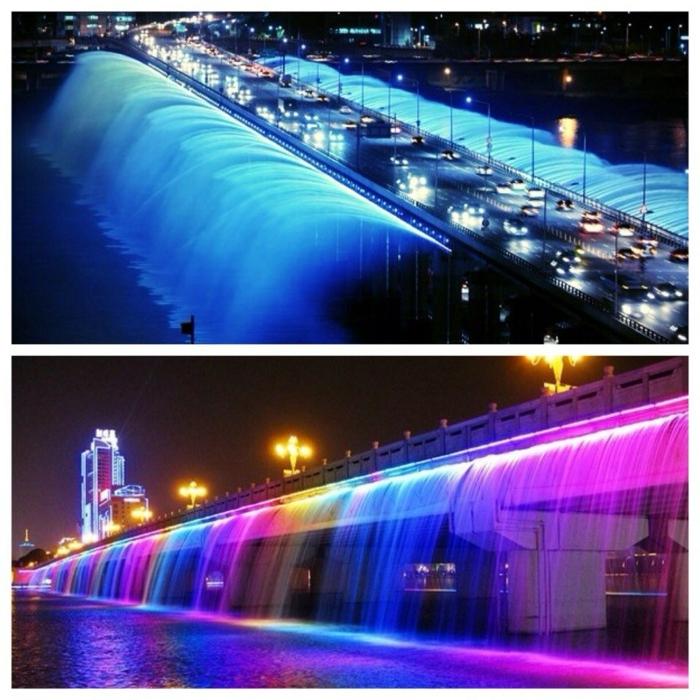 Hauptstadt von Südkorea brücke wasserspiel split