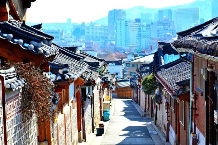 Hauptstadt von Südkorea bukchon hanog dorf mit neustadt
