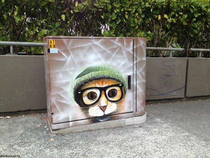 Street art Künstler Schlaue Katze