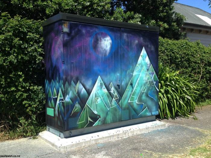 Streetart Künstler geometrische landschaft