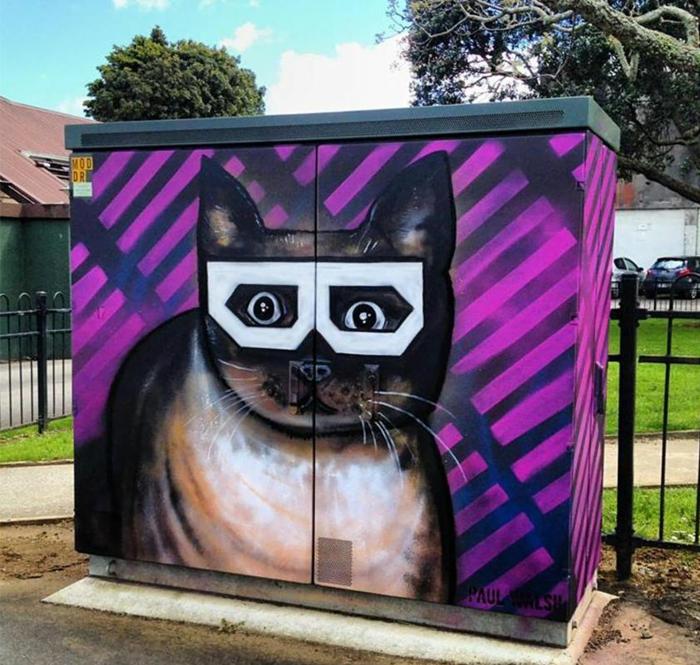 Streetart Künstler hipster katze