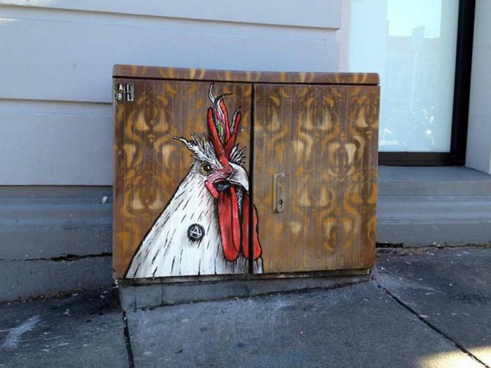 Street art Künstler punker hahn