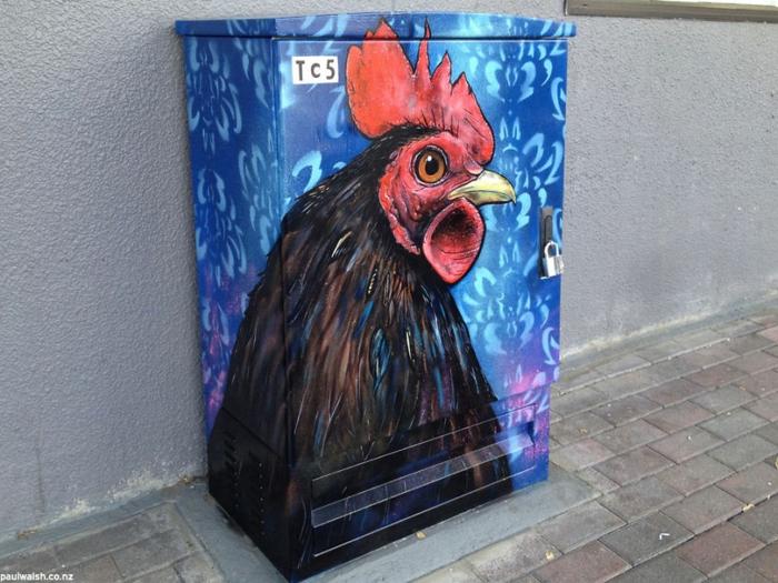 Street art Künstler vogel ruapehu hahn
