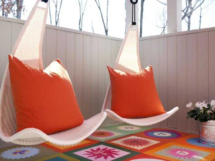 Terrasse Gestalten sommer hängende sitze
