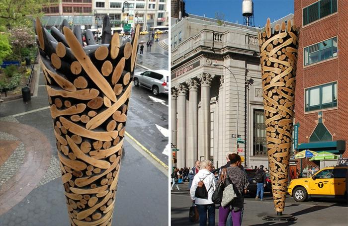 Zeitgenössische Kunst holz skulpturen sued korea urban