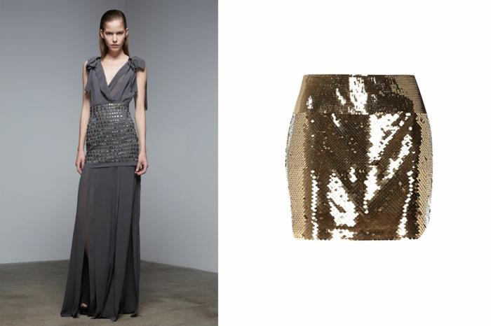 aktuelle modetrends graues kleid elegant