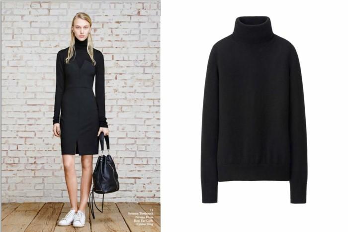 aktuelle modetrends herbst 2020 kleid schwarz
