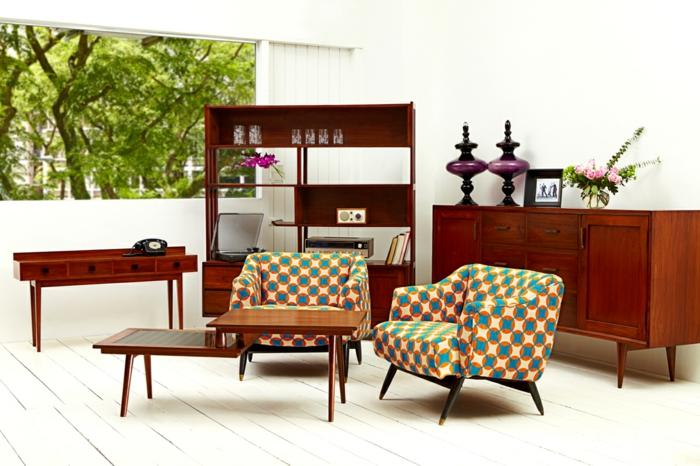ausgefallene möbel retro design wohnzimmer im vintage stil