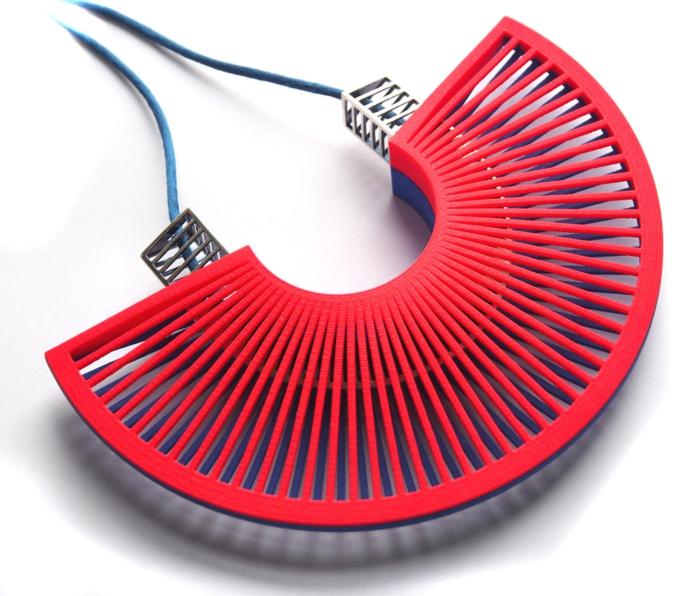 ausgefallener schmuck fachförmige halskette rot