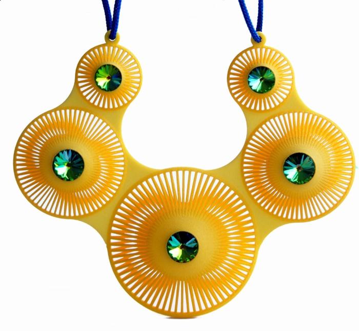 ausgefallener schmuck gelbe halskette glitzersteine