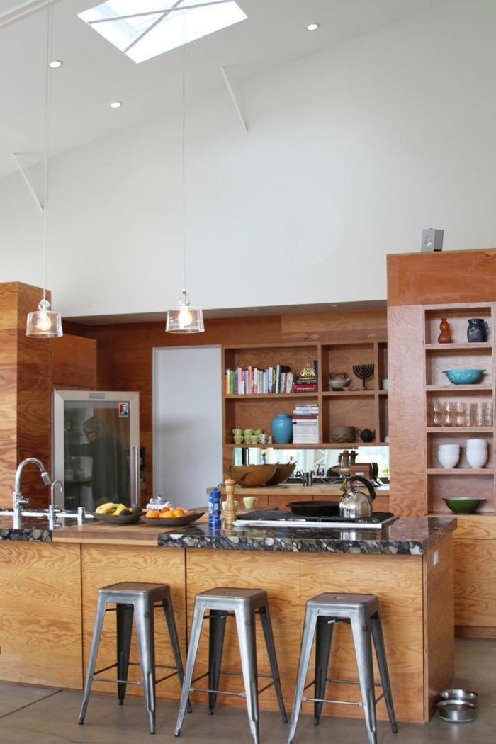 barhocker design industrielle küche gestalten pendelleuchten