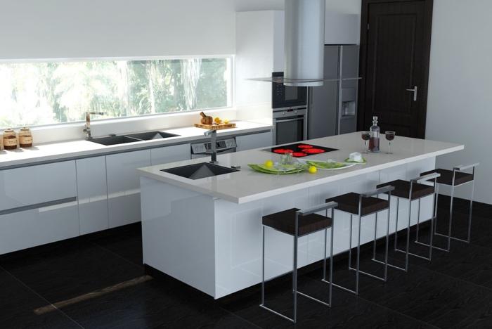 barhocker design küche einrichten weiße kücheninsel