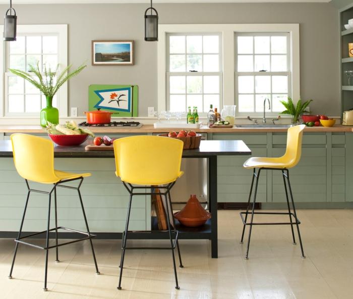 barhocker küche gelb frisch kücheninsel pflanze