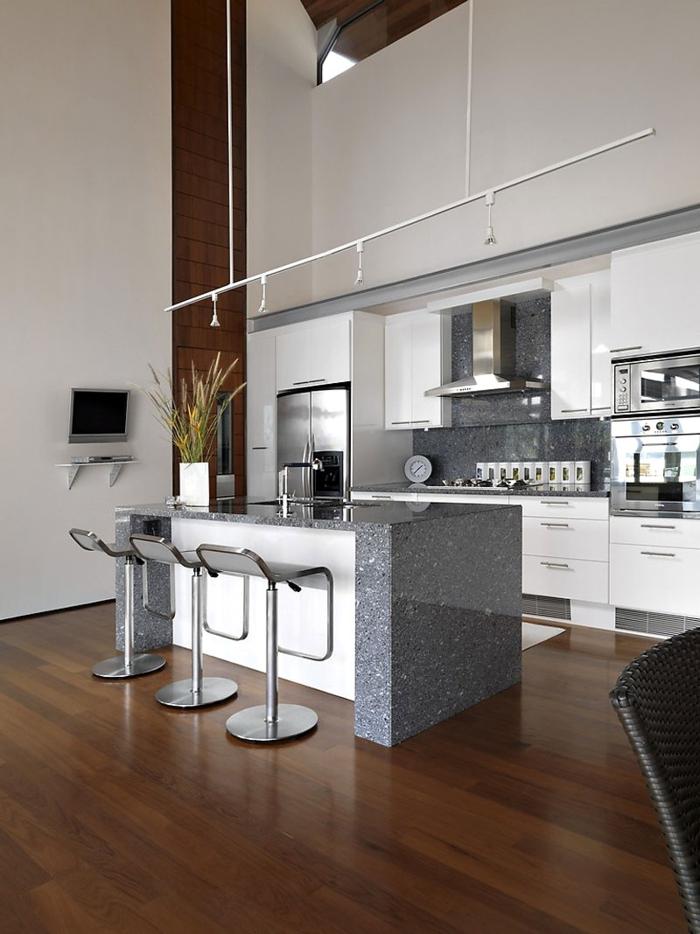 barhocker küche metall coole kücheninsel pflanze