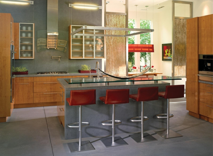 barhocker küche rot kücheninsel frische küchenschränke