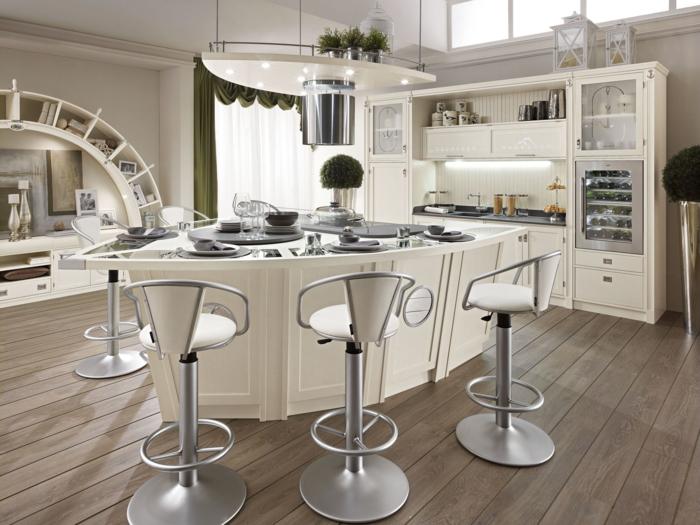 barhocker küche supermodern holzboden ausgefallene kücheninsel