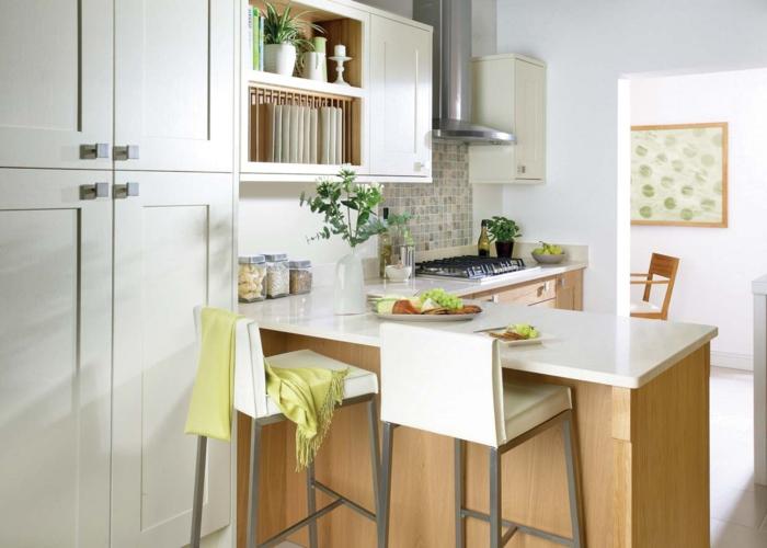 barhocker küche weiß leder stilvoll küche gestalten