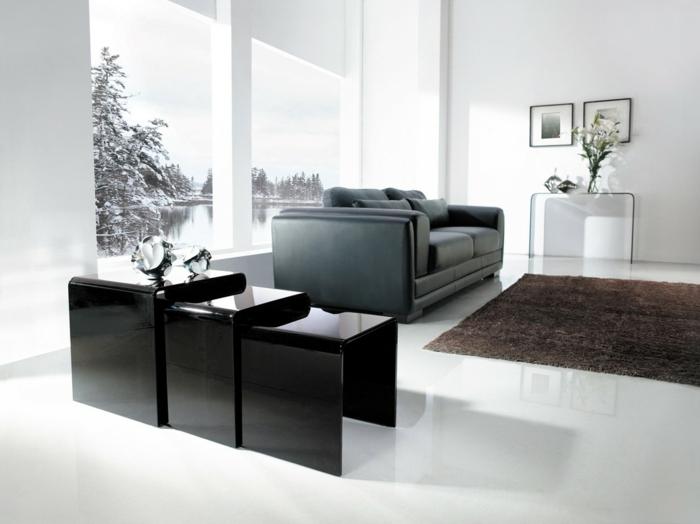Beistelltisch Design Schwarz Elegant Wohnzimmer Sofa