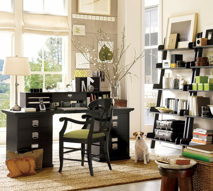blumendeko ideen home office dekorieren zweige offene regale
