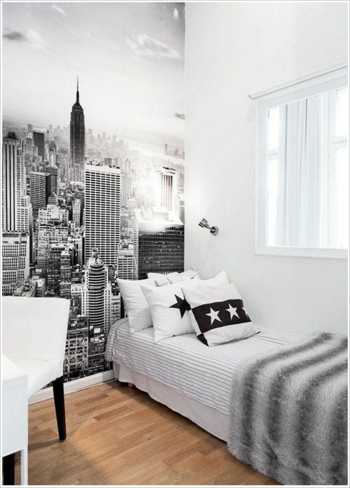 coole jugendzimmer ideen stadtaussicht schwarz weiß