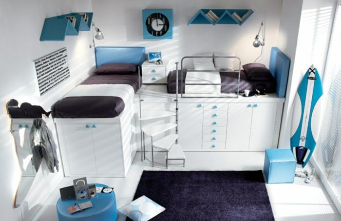 coole jugendzimmer jungen ideen blau weiß