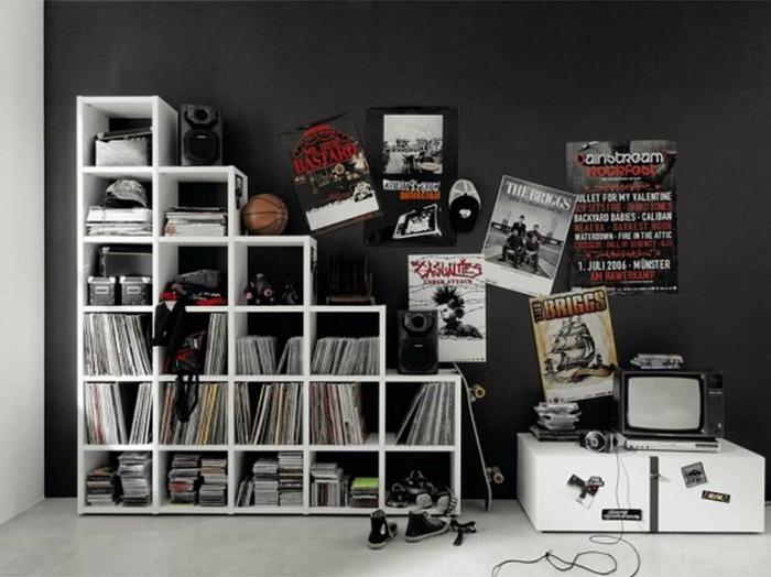 coole jugendzimmer jungen ideen wandfarbe schwarz - Jugendzimmer Schwarz Wei