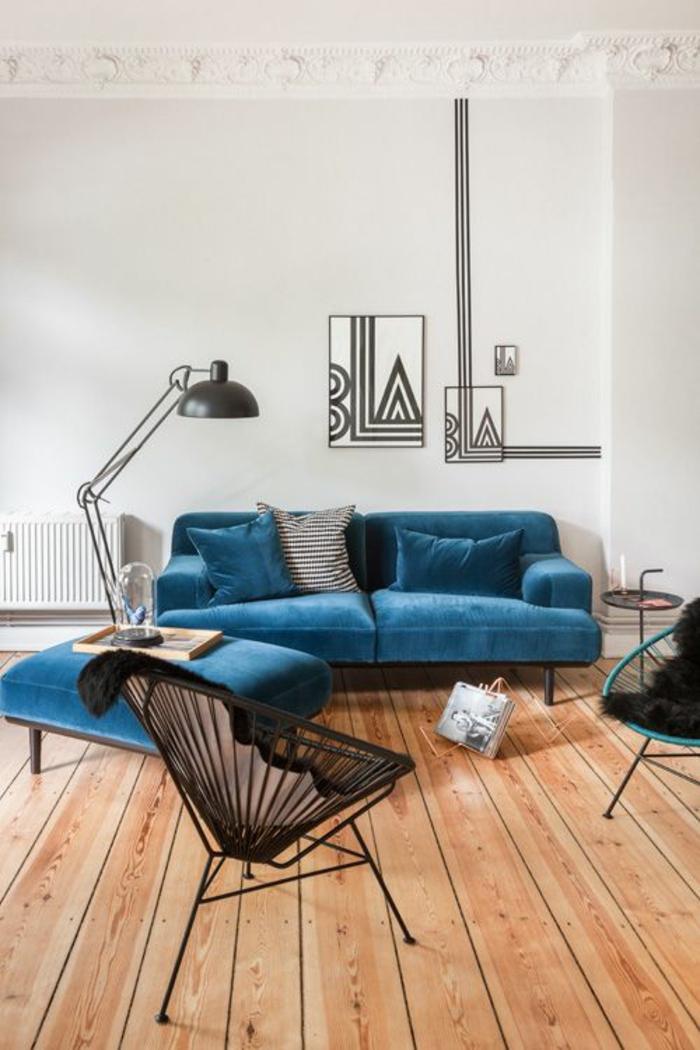 couch hocker wohnzimmer möbel design sofa blau