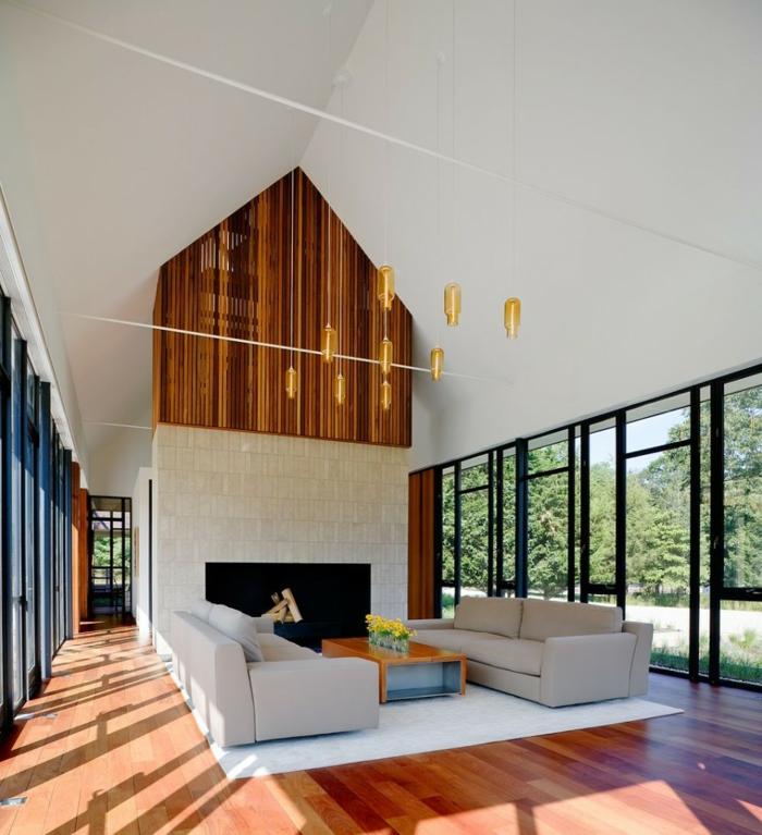 Deckenbeleuchtung Wohnzimmer Ausgefallen Kamin Holzboden