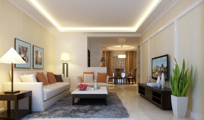 Deckenbeleuchtung Wohnzimmer Grauer Teppich Pflanzen Dekoideen