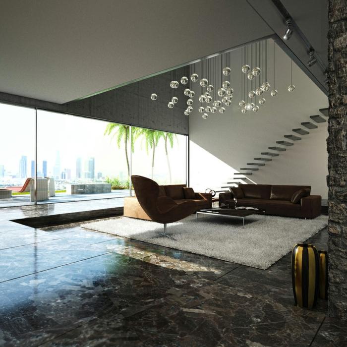deckenbeleuchtung wohnzimmer ledermöbel wohnzimmerteppich
