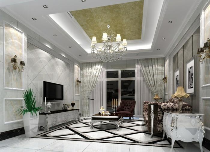 deckenbeleuchtung wohnzimmer pflanzen luxurises design - Deckenbeleuchtung
