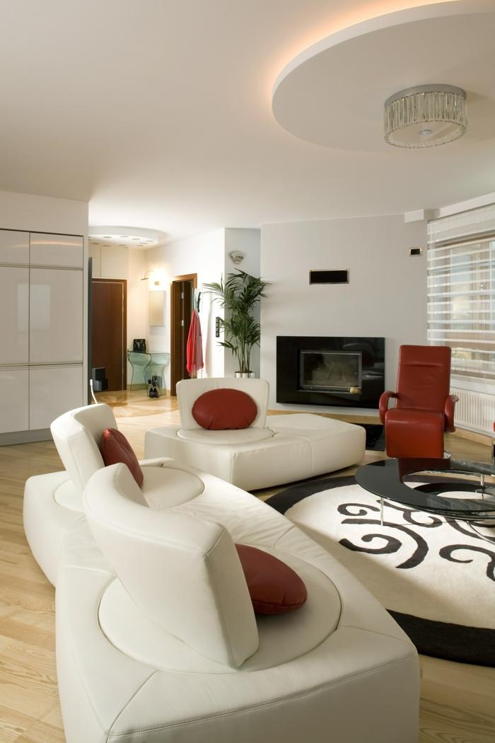deckenbeleuchtung wohnzimmer weiße möbel runder teppich