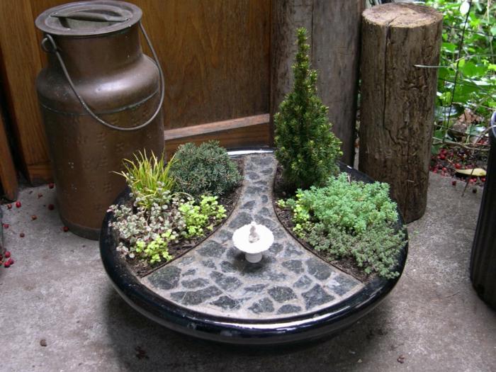 deko bastelideen mini garten elegante gartengestaltung - Gartengestaltung Mit Brunnen