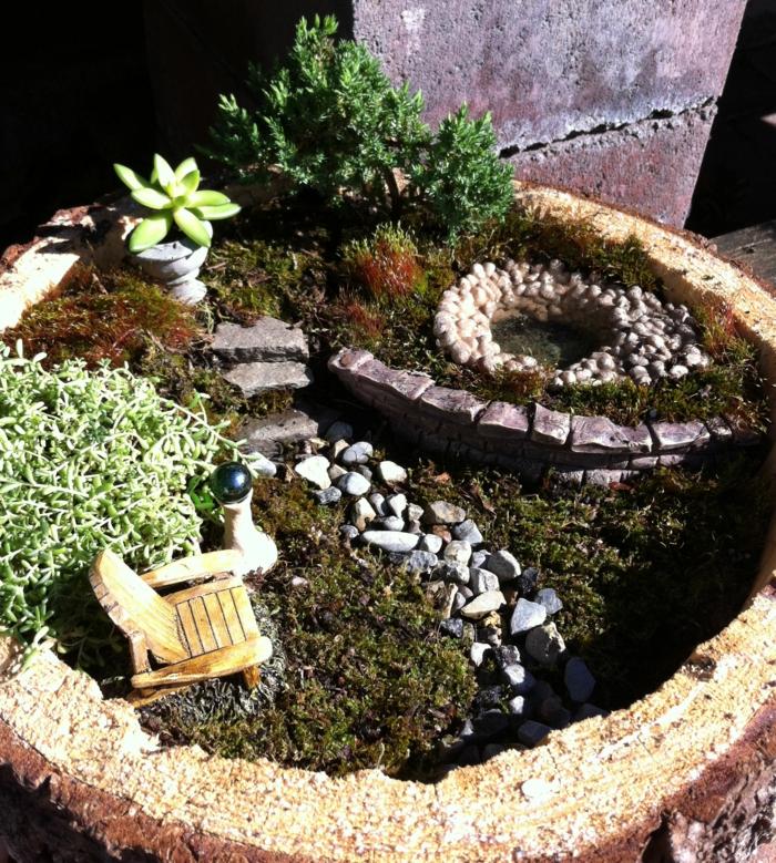 deko bastelideen mini garten steine pflanzen gartenmöbel