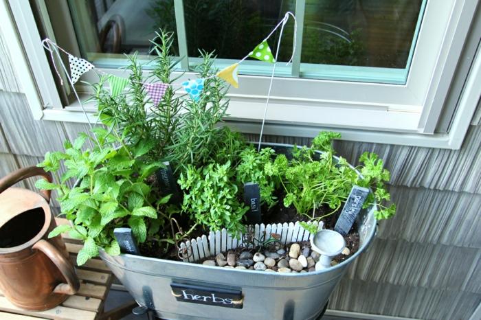 deko ideen selbermachen mini kräutergarten