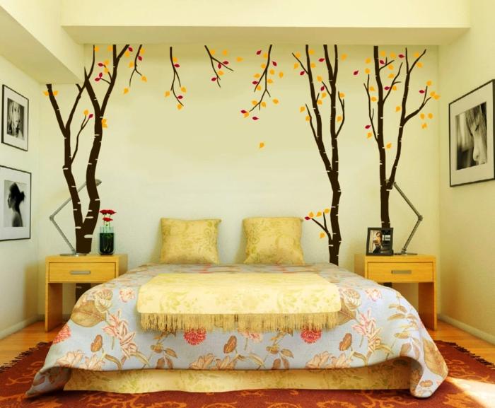 deko deko ideen selbermachen wandtattoo bäume schlafzimmer dekorieren