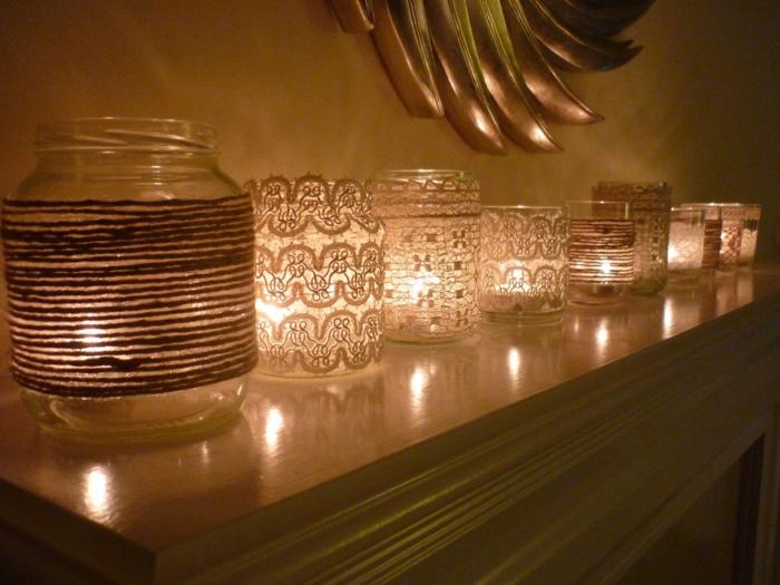 deko ideen selbermachen windlichter gläser spitze