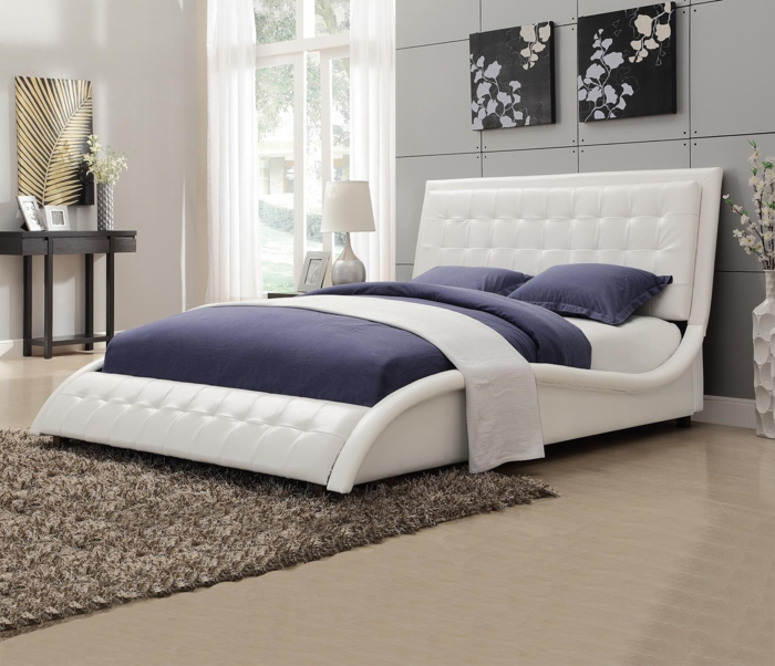 Design Betten Weißer Rahmen Gepolstert Kopfteil Leder