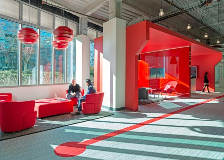 design blitz comcast moderne büroeinrichtung rot