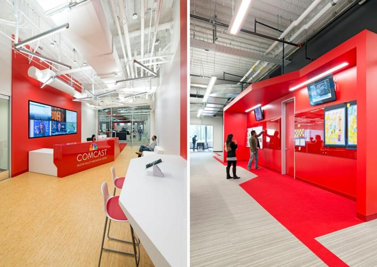 design blitz comcast office moderne büroeinrichtung rot