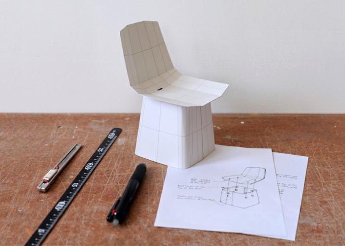 designermöbel origami designer stuhl linito designer yu ito skizze papier muster