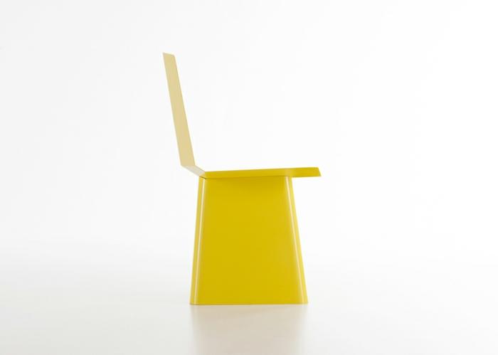 designermöbel origami stuhl linito gelb seitenansicht yu ito