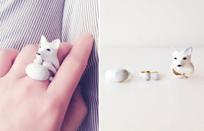 emaille schmuck dreiteilig ring polarfuchs