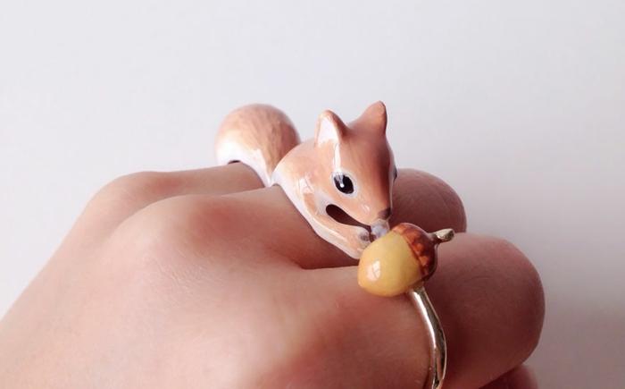 emaille schmuck dreiteiliger ring eichhörnchen