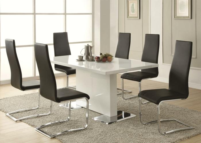esstisch design rechteckig weiß schwarze stühle