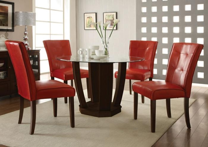 esstisch design rund rote stühle leder