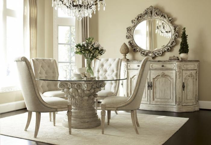 esstische design rund luxuriös weißer teppich kronleuchter