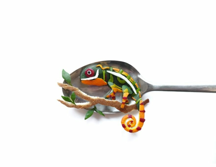 food art löffel chameleon