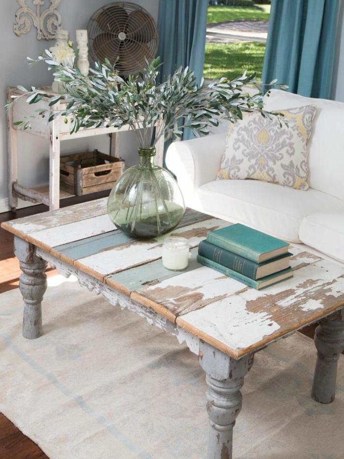 Französische Landhausmöbel Couchtisch Holz Rustikal